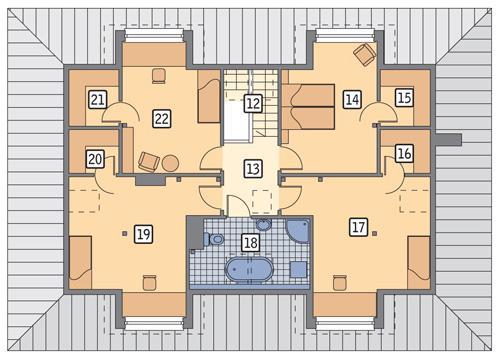 Rzut poddasza POW. 104,7 m²