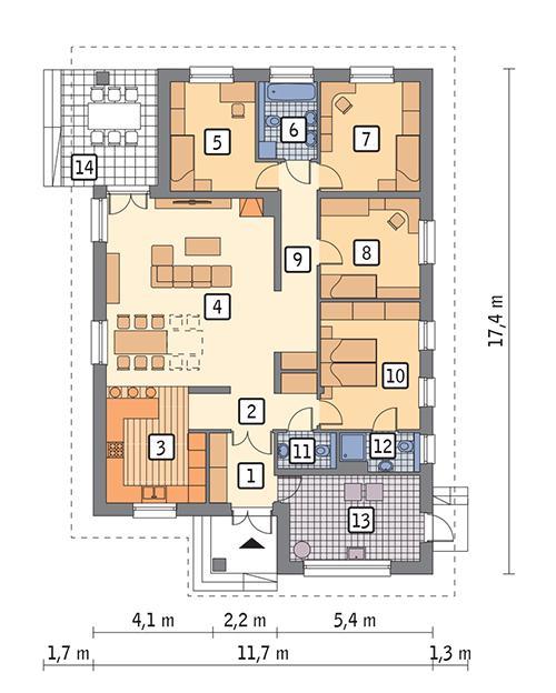 Rzut parteru POW. 143,0 m²