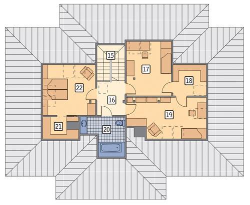 Rzut poddasza POW. 77,6 m²