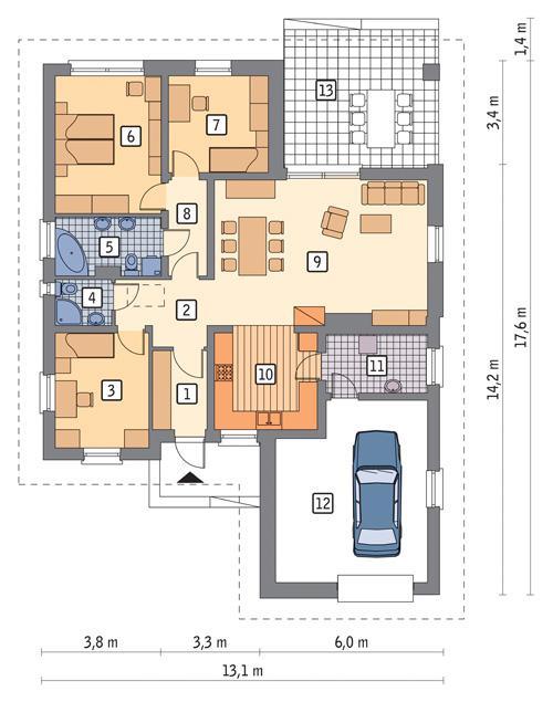 Rzut parteru POW. 135,4 m²