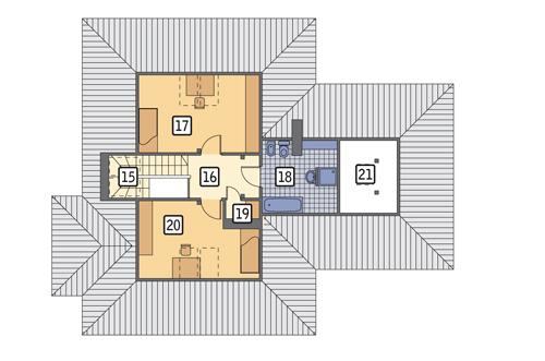Rzut poddasza POW. 75,1 m²