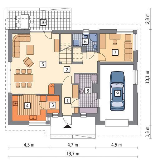 Rzut parteru POW. 98,1 m²