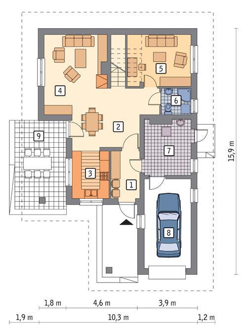 Rzut parteru POW. 91,7 m²