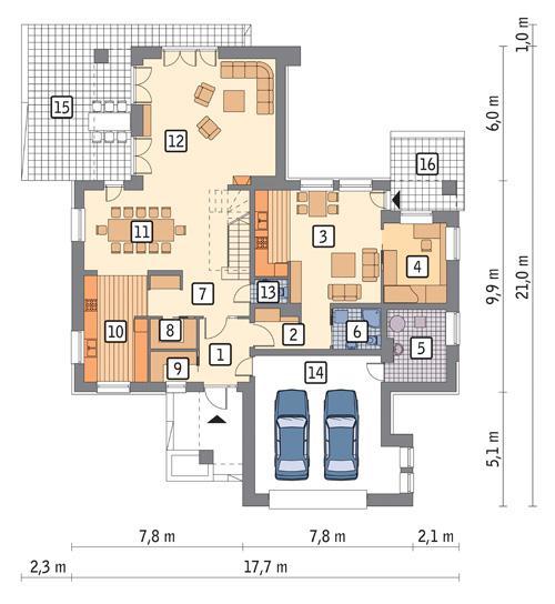 Rzut parteru POW. 193,6 m²