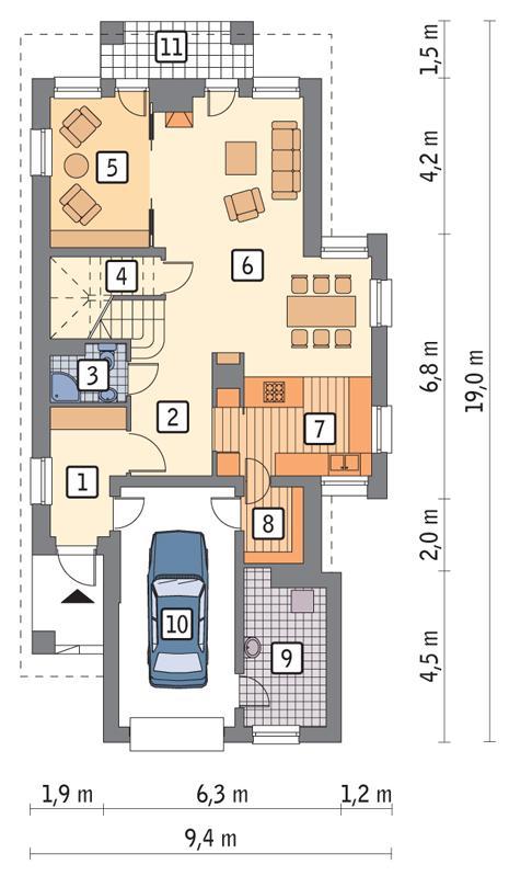 Rzut parteru POW. 103,8 m²