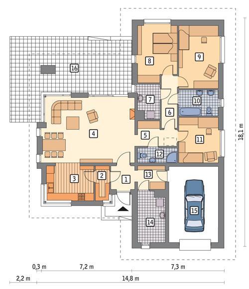 Rzut parteru POW. 151,9 m²