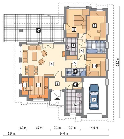 Rzut parteru POW. 150,7 m²