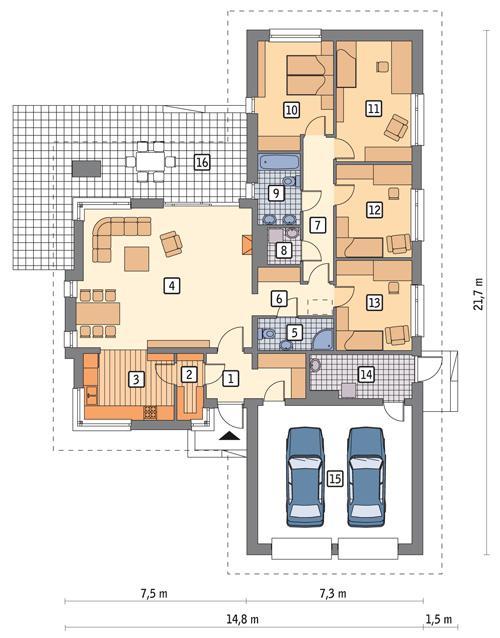 Rzut parteru POW. 178,8 m²