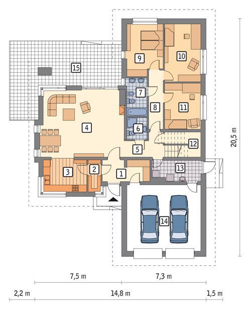 Rzut parteru POW. 170,6 m²