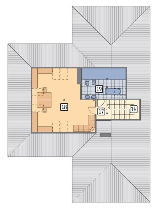 Rzut poddasza POW. 70,8 m²
