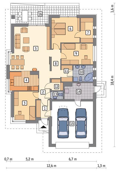 Rzut parteru POW. 155,9 m²