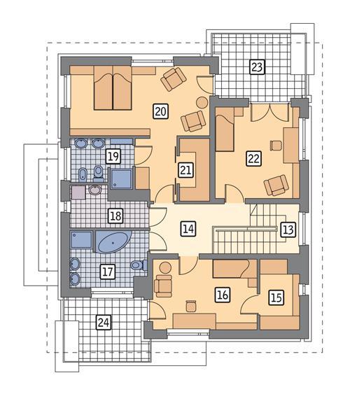 Rzut piętra POW. 107,8 m²