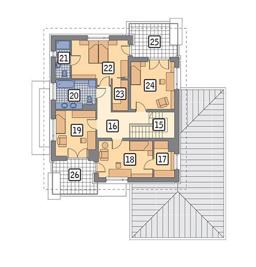 Rzut piętra POW. 108,2 m²