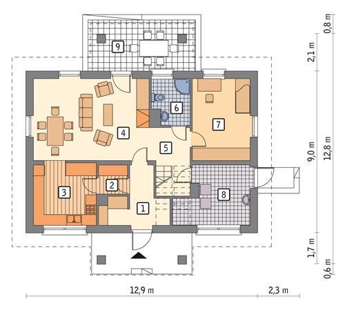 Rzut parteru POW. 90,3 m²