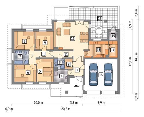 Rzut parteru POW. 173,6 m²