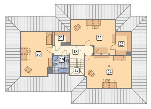 Rzut poddasza POW. 124,1 m²