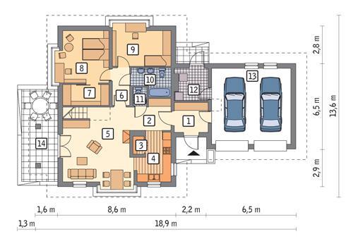 Rzut parteru POW. 128,8 m²