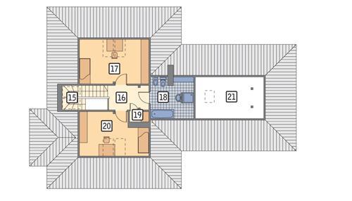 Rzut poddasza POW. 70,4 m²