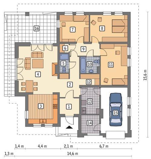 Rzut parteru POW. 148,4 m²
