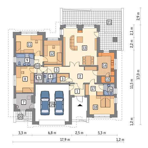 Rzut parteru POW. 196,0 m²