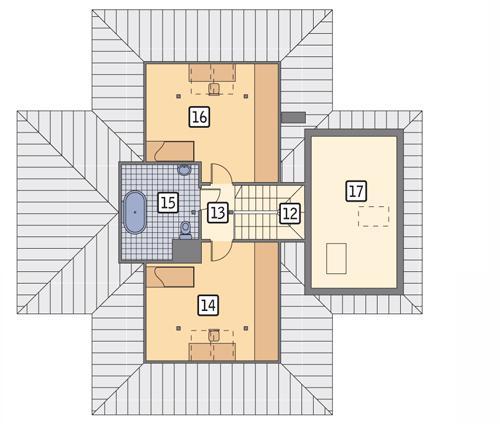Rzut poddasza POW. 84,1 m²