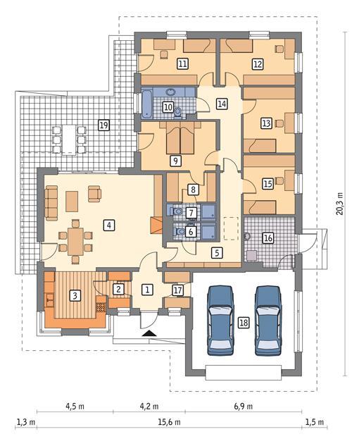 Rzut parteru POW. 195,6 m²