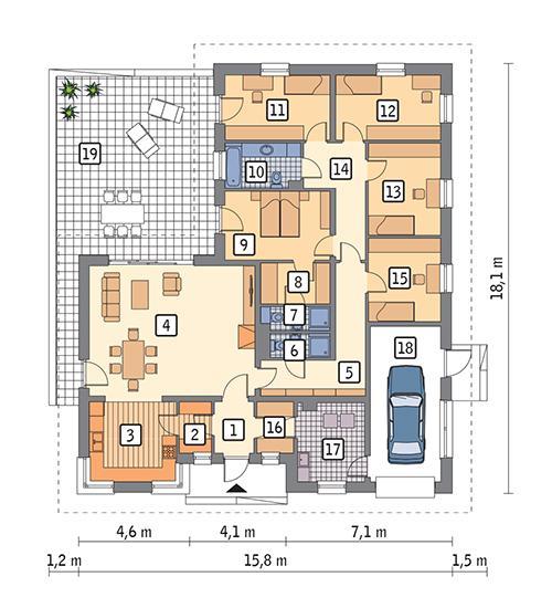 Rzut parteru POW. 182,1 m²