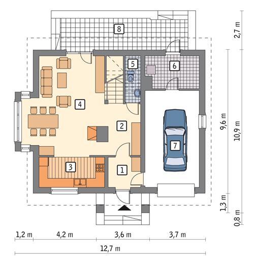 Rzut parteru POW. 85,9 m²