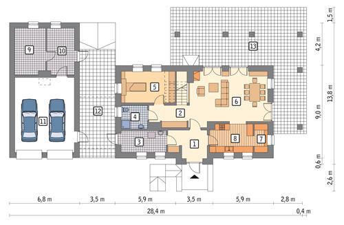 Rzut parteru POW. 165,6 m²