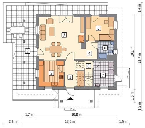 Rzut parteru POW. 78,7 m²