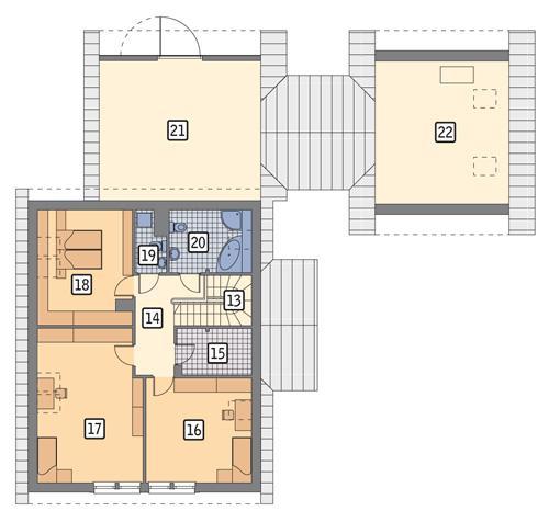 Rzut poddasza POW. 173,9 m²