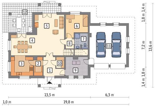 Rzut parteru POW. 137,1 m²