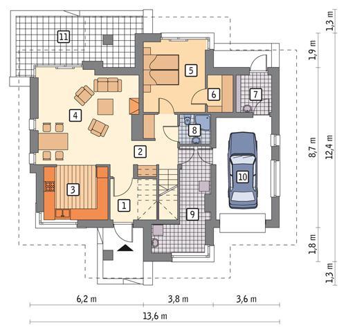 Rzut parteru POW. 97,4 m²