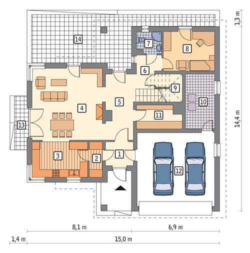 Rzut parteru POW. 131,6 m²