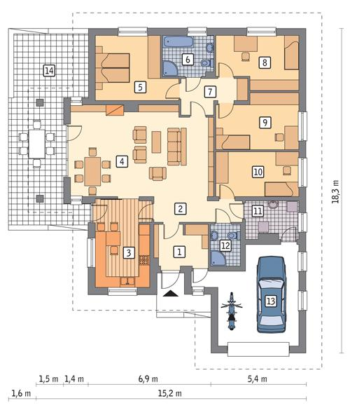 Rzut parteru POW. 167,2 m²