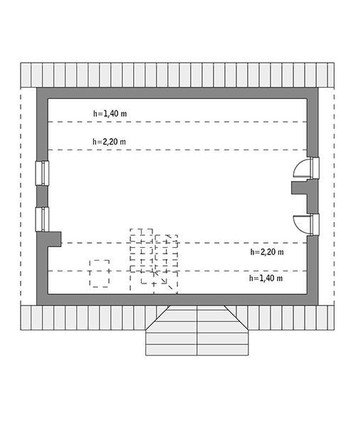 Rzut poddasza: Do indywidualnej adaptacji (49,4 m2 powierzchni użytkowej)