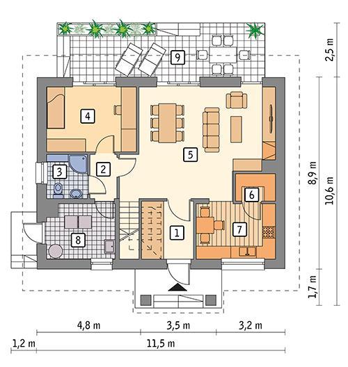 Rzut parteru POW. 75,0 m²