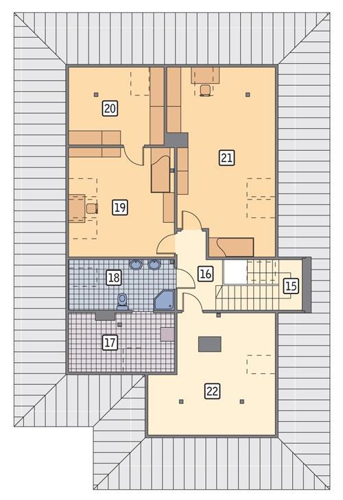 Rzut poddasza: II etap realizacji (57,2 m2 powierzchni użytkowej)