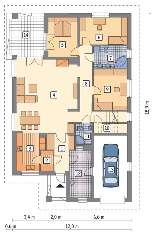 Rzut parteru POW. 155,7 m²