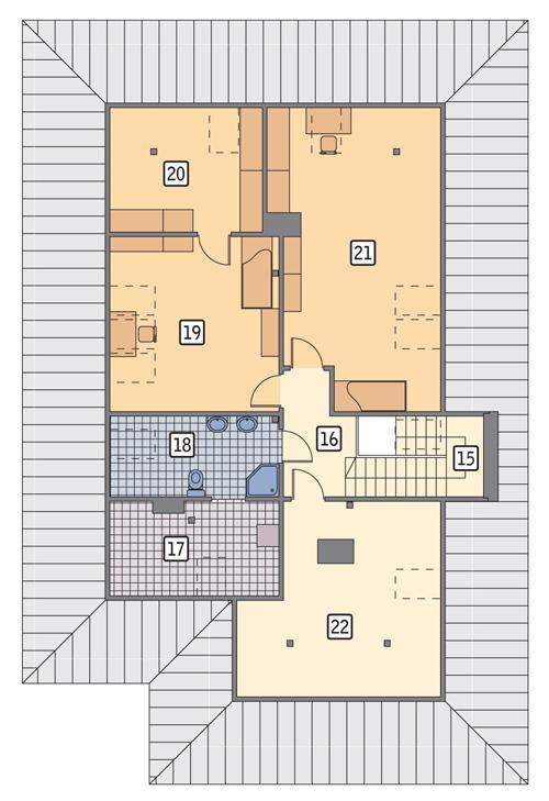 Rzut poddasza POW. 123,8 m²