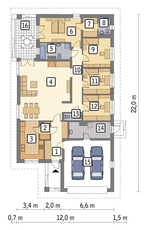 Rzut parteru POW. 186,6 m²