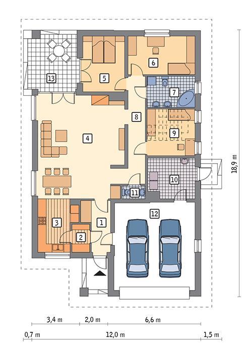 Rzut parteru POW. 159,9 m²