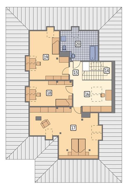 Rzut poddasza: II etap realizacji (68,2 m2 powierzchni użytkowej)