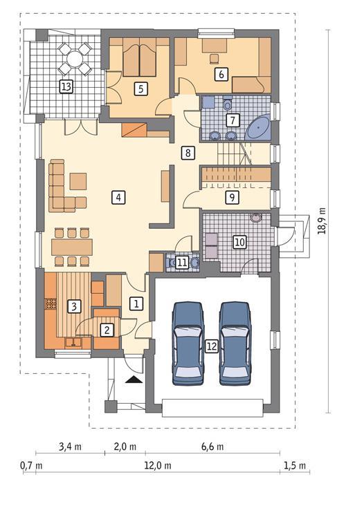Rzut parteru POW. 156,8 m²