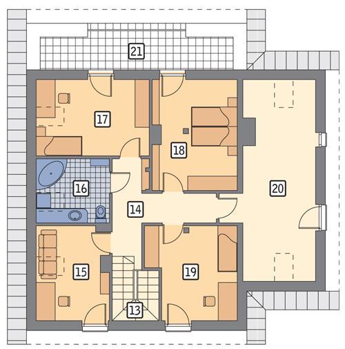 Rzut poddasza POW. 117,3 m²