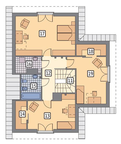 Rzut poddasza POW. 88,6 m²