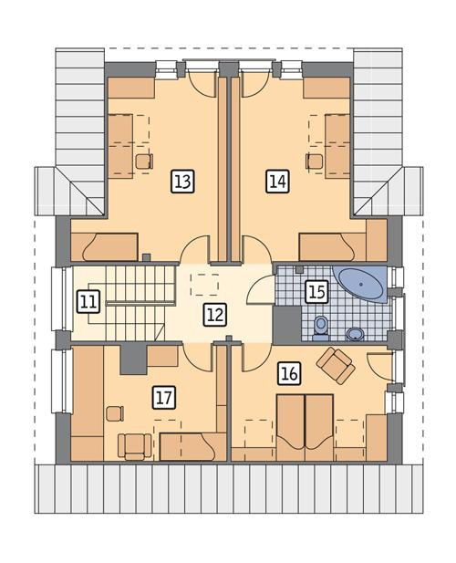 Rzut poddasza POW. 85,1 m²