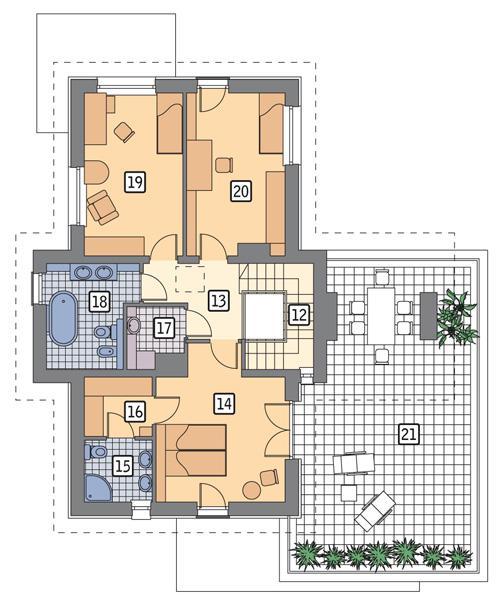 Rzut piętra POW. 124,9 m²