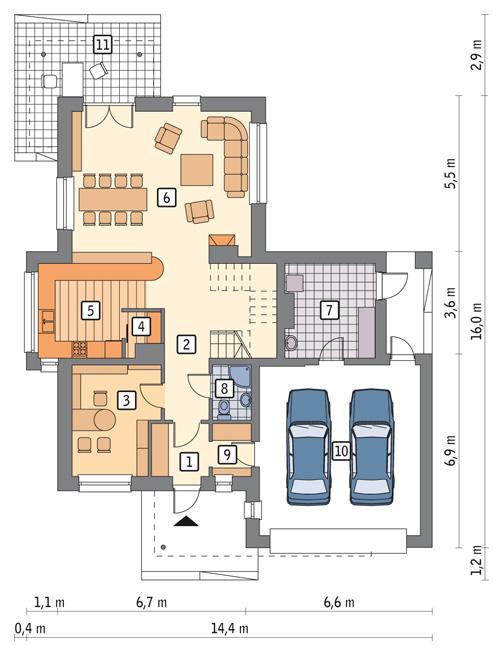 Rzut parteru POW. 93,7 m²