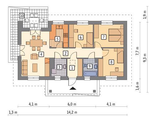 Rzut parteru POW. 79,0 m²